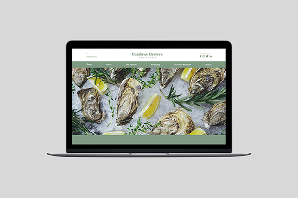Apple MacBook with Cumbrae Oysters on the screen