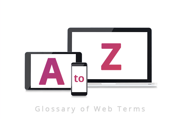 "Strive Digital: Image of a tablet, mobile and laptop with the letters A to Z on them above the words ""Glossary of Web Terms"""