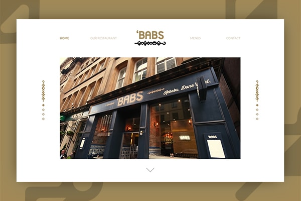 Image the Babs restaurant Glasgow website design by Strive Digital, against a gold background